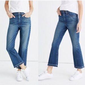 Madewell retro crop bootcut raw hem jeans